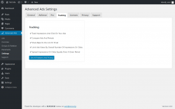 Page screenshot: Advanced Ads → Settings → Tracking