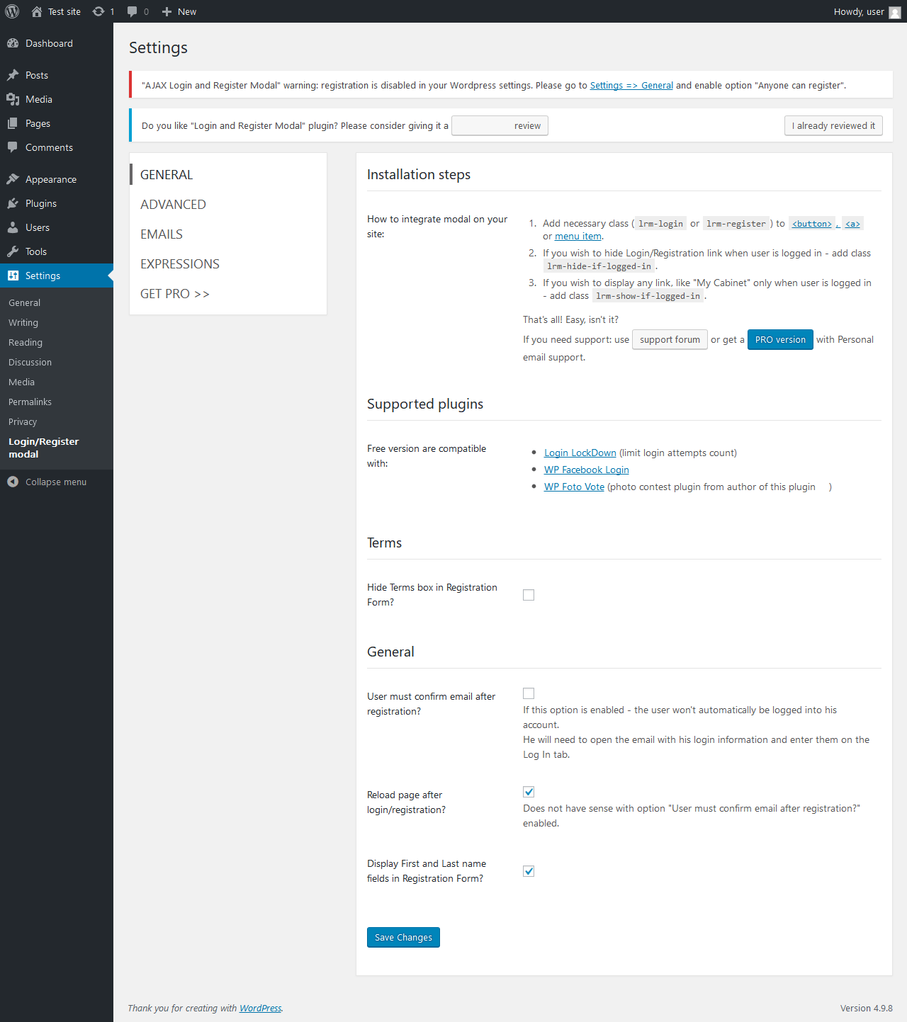 Report - AJAX Login and Registration modal popup + inline
