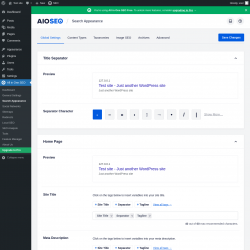 Page screenshot: All in One SEO → Search Appearance