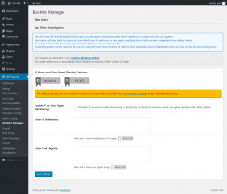Page screenshot: WP Security → Blacklist Manager