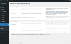 Page screenshot: Associates Link Builder → Settings