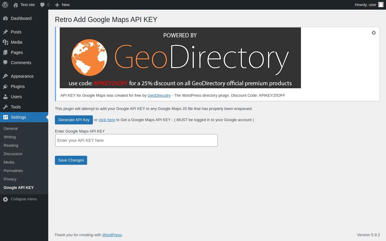 Report - API KEY for Google Maps 1 2 0 - PluginTests com