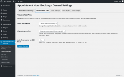 Page screenshot: Appointment Hour Booking → General Settings → Troubleshoot Area