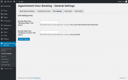 Page screenshot: Appointment Hour Booking → General Settings → CSV Settings