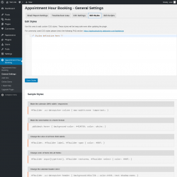 Page screenshot: Appointment Hour Booking → General Settings → Edit Styles