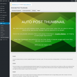 Page screenshot: Settings → Auto Post Thumbnail → About