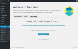 Page screenshot: Auto Robot →  				Help & Support