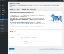 Page screenshot: Settings → Autoptimize →  Critical CSS