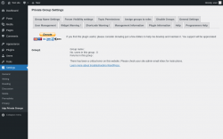 Page screenshot: Settings → bbp Private Groups → Management Information