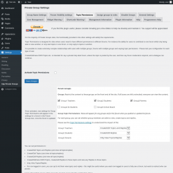 Page screenshot: Settings → bbp Private Groups → Topic Permissions