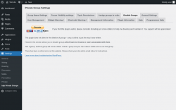 Page screenshot: Settings → bbp Private Groups → Disable Groups
