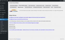 Page screenshot: Settings → bbp Private Groups → Widget Warning !