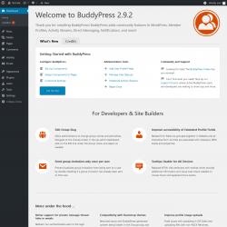 Page screenshot: Welcome to BuddyPress ‹ Test site — WordPress