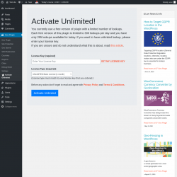 Page screenshot: Geo Plugin →  Activate Unlimited