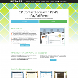 Page screenshot: CP Contact Form with PayPal → Help: Online demo