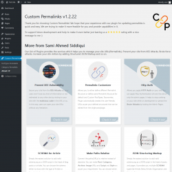 Page screenshot: Custom Permalinks → About CP
