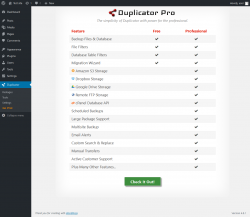 Page screenshot: Duplicator → Go Pro!