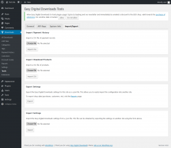 Page screenshot: Downloads → Tools → Import/Export
