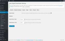 Page screenshot: Downloads → Settings → Styles