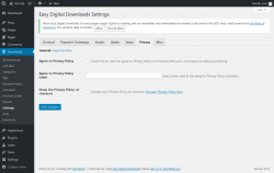 Page screenshot: Downloads → Settings → Privacy