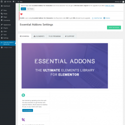 Page screenshot: Essential Addons Elementor ‹ Test site — WordPress