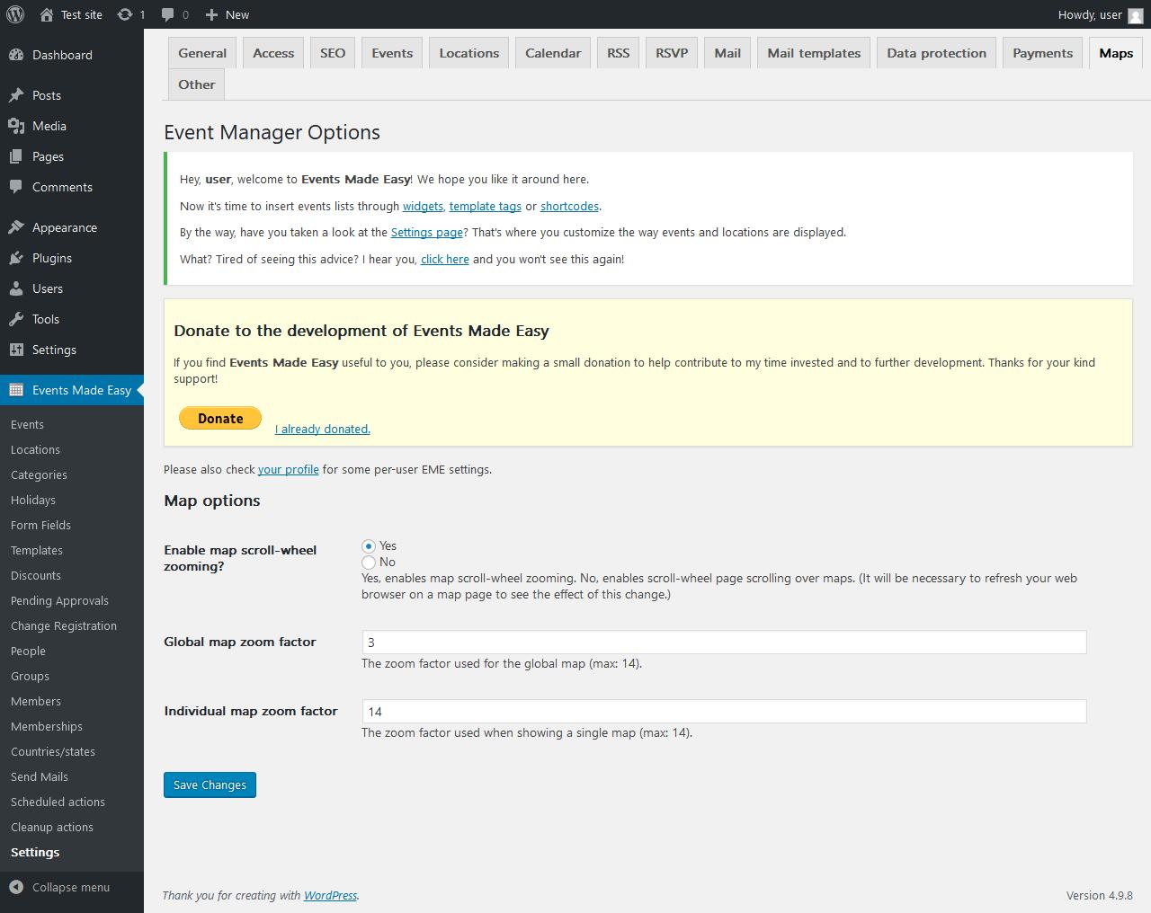 Report - Events Made Easy 2 0 54 - PluginTests com