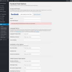 Page screenshot: Feed Them → Facebook Options