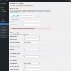 Page screenshot: Feed Them → Twitter Options