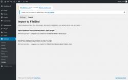 Page screenshot: Settings → FileBird → Import