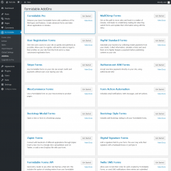 Page screenshot: Formidable → AddOns