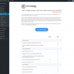 Page screenshot: Formidable → Upgrade to Pro
