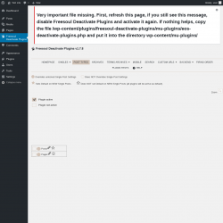 Page screenshot: Plugins  → Freesoul Deactivate Plugins