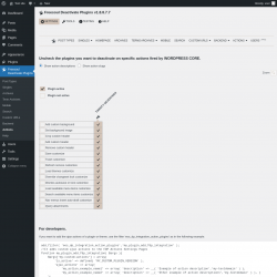 Page screenshot: Freesoul Deactivate Plugins → Actions