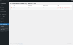 Page screenshot: FFW Security → FFW Administrators