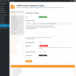 Page screenshot: GDPR Cookie Compliance →                  Banner Settings