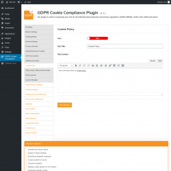 Page screenshot: GDPR Cookie Compliance →  				Cookie Policy