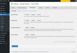 Page screenshot: Donations → Settings → Default Options