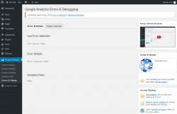 Page screenshot: Google Analytics → Errors & Debug