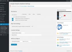 Page screenshot: Google Analytics → Backend Settings