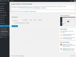 Page screenshot: Google Analytics → Frontend Settings