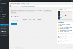 Page screenshot: Google Analytics → Tracking Code → Exclude Tracking