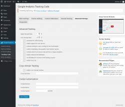 Page screenshot: Google Analytics → Tracking Code → Advanced Settings