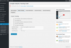 Page screenshot: Google Analytics → Tracking Code → Events Tracking