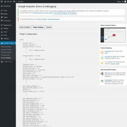 Page screenshot: Google Analytics → Errors & Debug → Plugin Settings