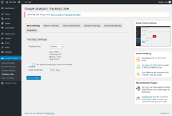 Page screenshot: Google Analytics → Tracking Code