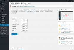 Page screenshot: Google Analytics → Tracking Code → Custom Definitions