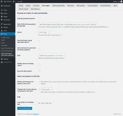 Page screenshot: Tools → Import and export users and customers → Cron import