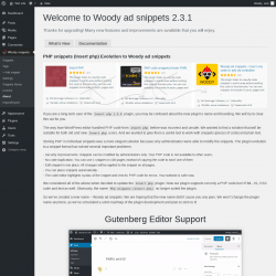 Page screenshot: Woody snippets → About