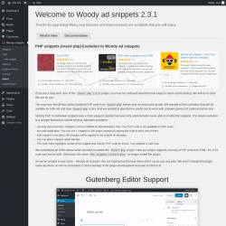 Page screenshot: Woody snippets → About → What's New