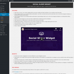 Page screenshot: Social Slider Widgets → About